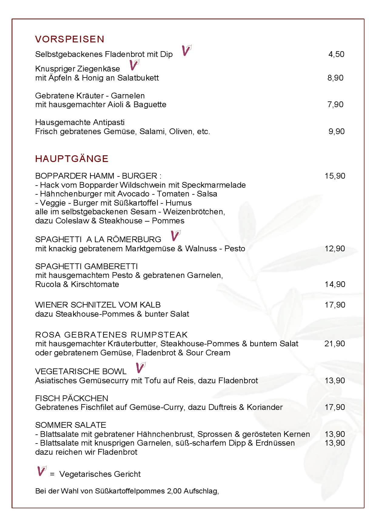 Speisekarte der Römerburg Boppard