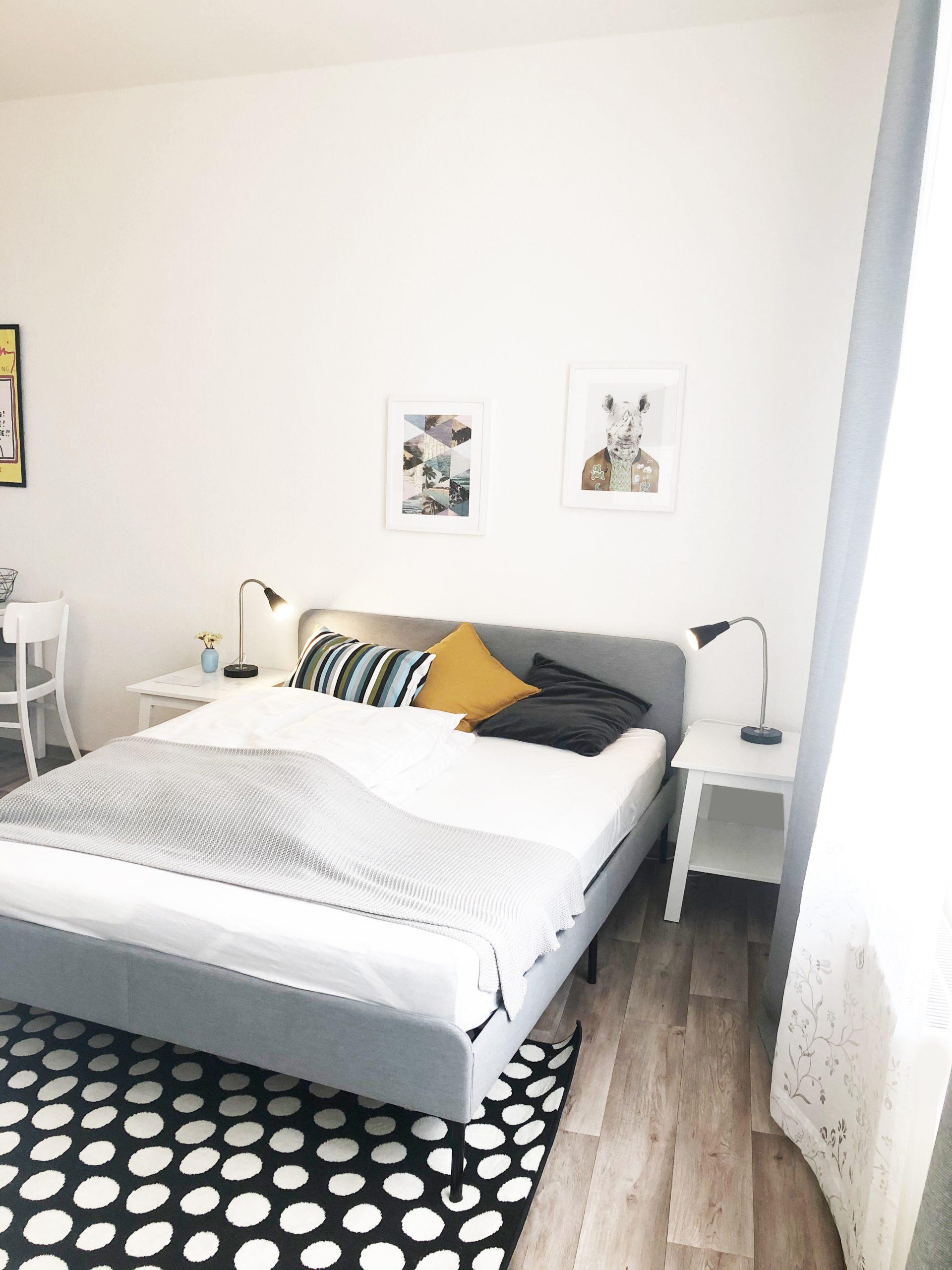 Doppelbett im Römerburg Apartment 2
